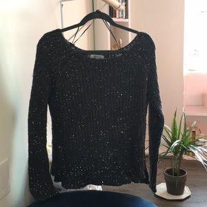 Jennifer Lopez sweater charcoal sequins knit black